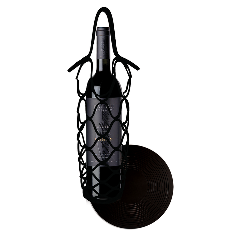 scilicone reusable black wine bottle net bag