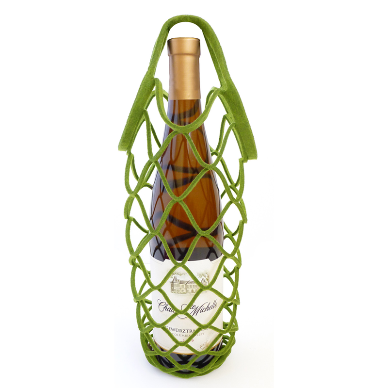 felt reusable apple wine bottle net bag