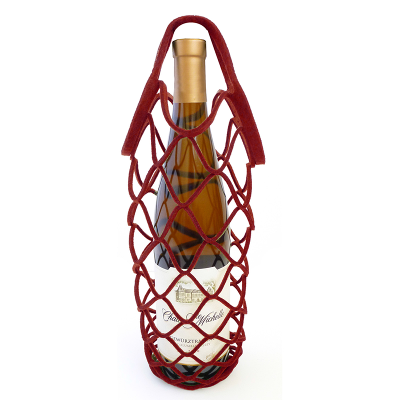 felt reusable burgundy wine bottle net bag