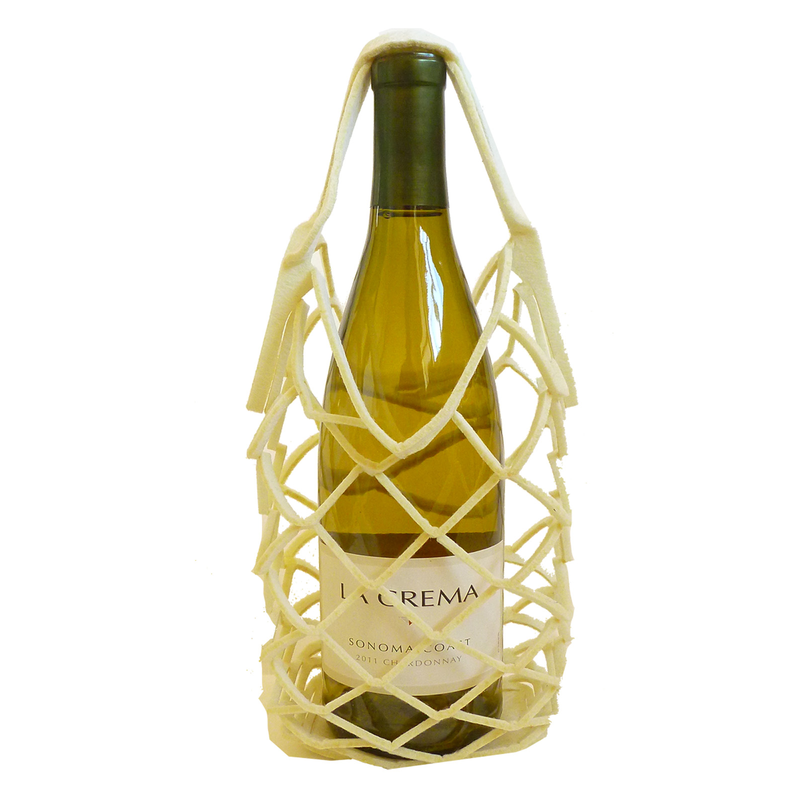 felt reusable natural square wine bottle net bag