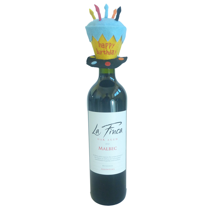 felt happy birthday hat bottle topper