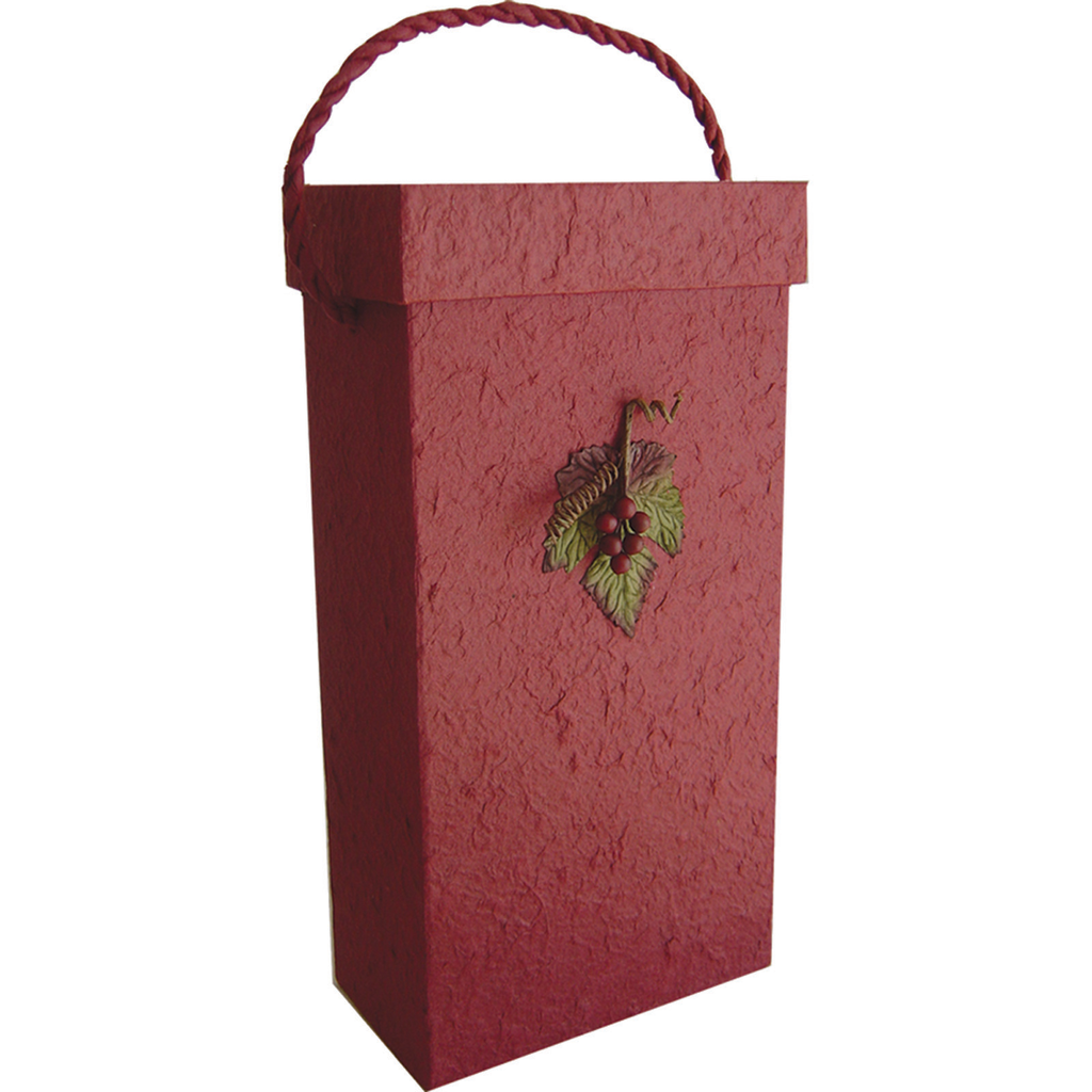 3d burgundy grape leaf double bottle wine box