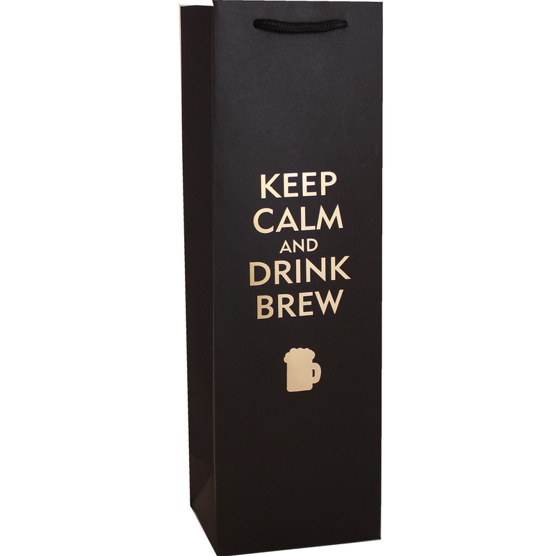 keep calm  drink brew beer bottle bag