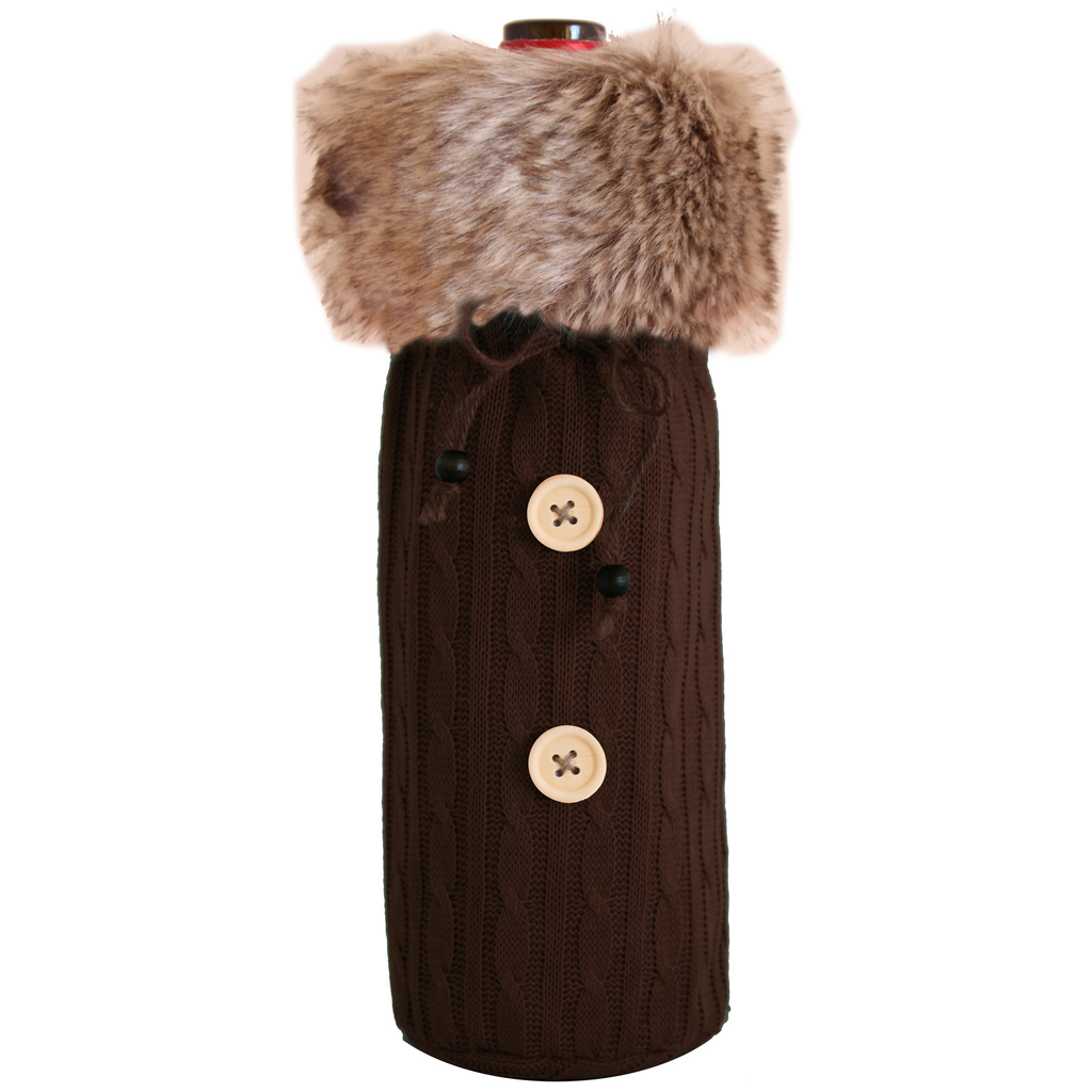 knitted fur sweater brown bottle bag