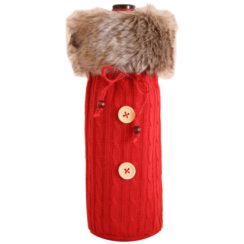 knitted fur sweater red bottle bag