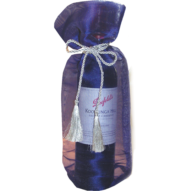 sheer organza blue wine bottle bag