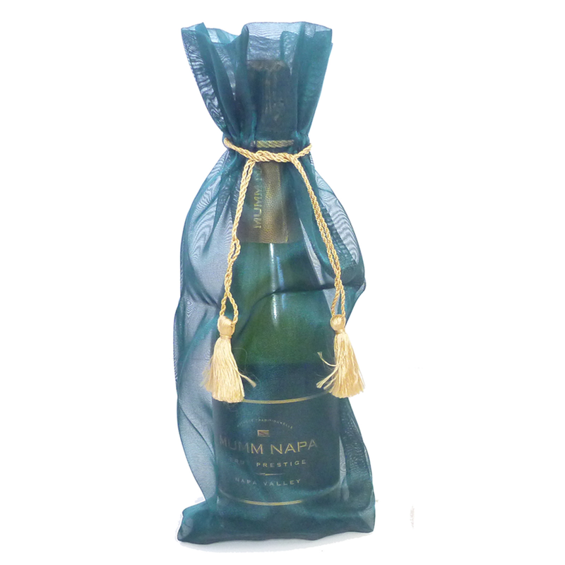 sheer organza emerald wine bottle bag