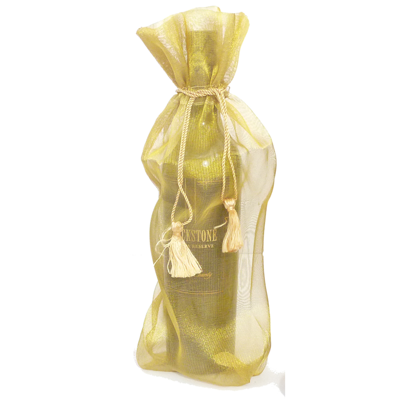 sheer organza gold wine bottle bag