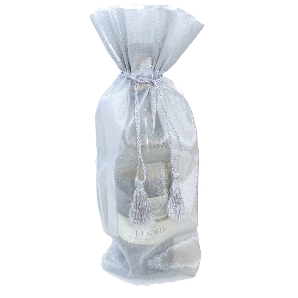 sheer organza silver wine bottle bag