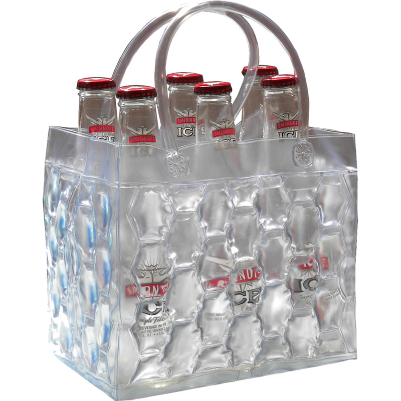 chill it freezable clear six pdrink bottle bag