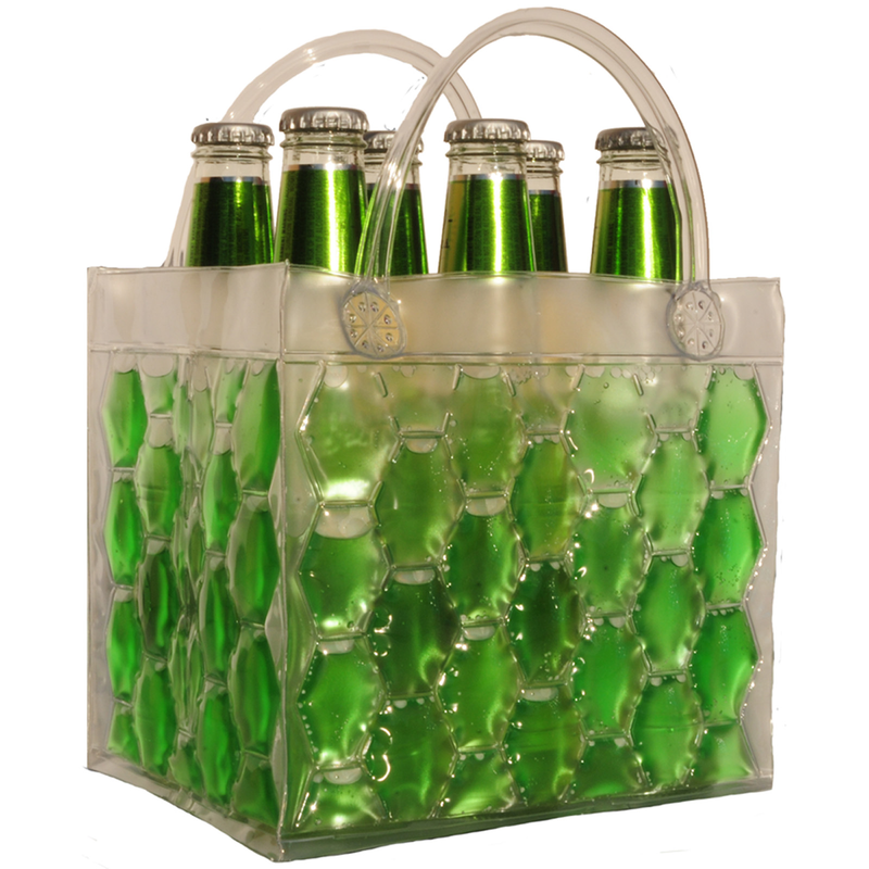 chill it freezable green six pdrink bottle bag