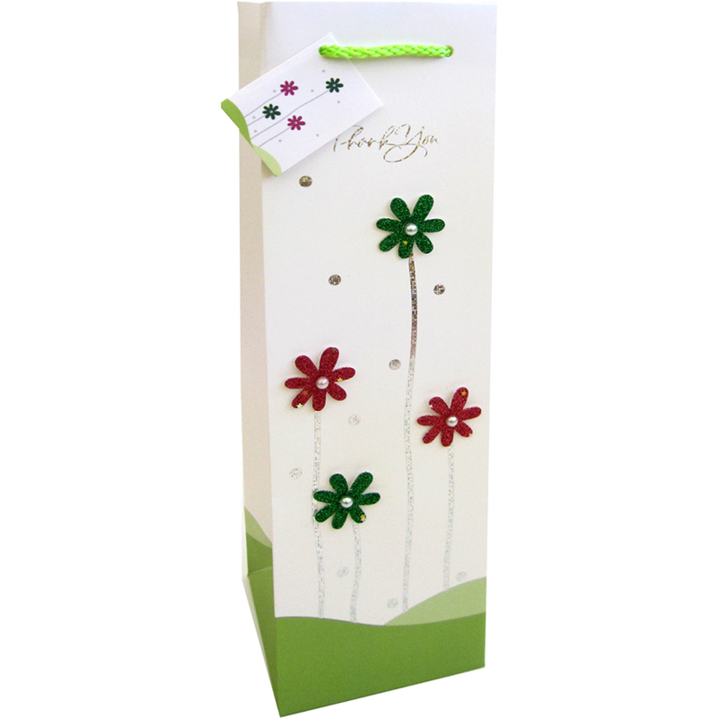 decorative paper 3d thanks wine bottle bag