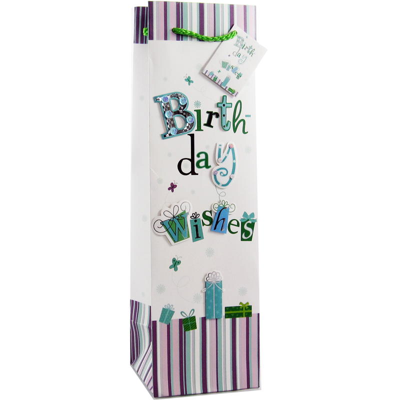 decorative paper 3d birthday wishes wine bottle bag