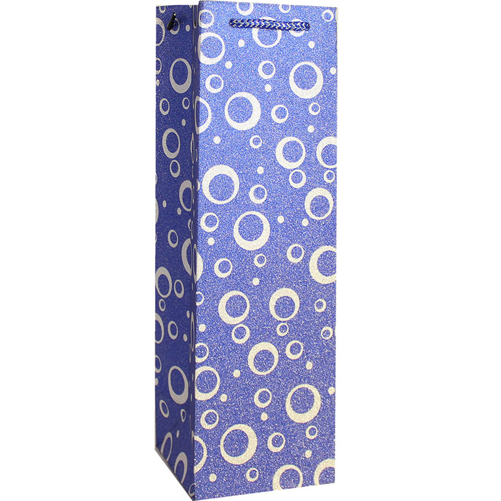 glitter blue fizz wine bottle bag