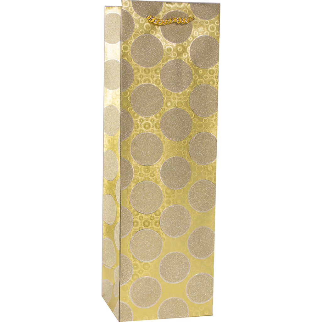 glitter gold circles wine bottle bag