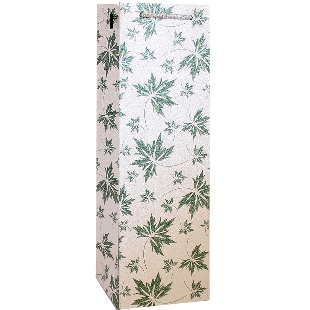 glitter green leaves wine bottle bag
