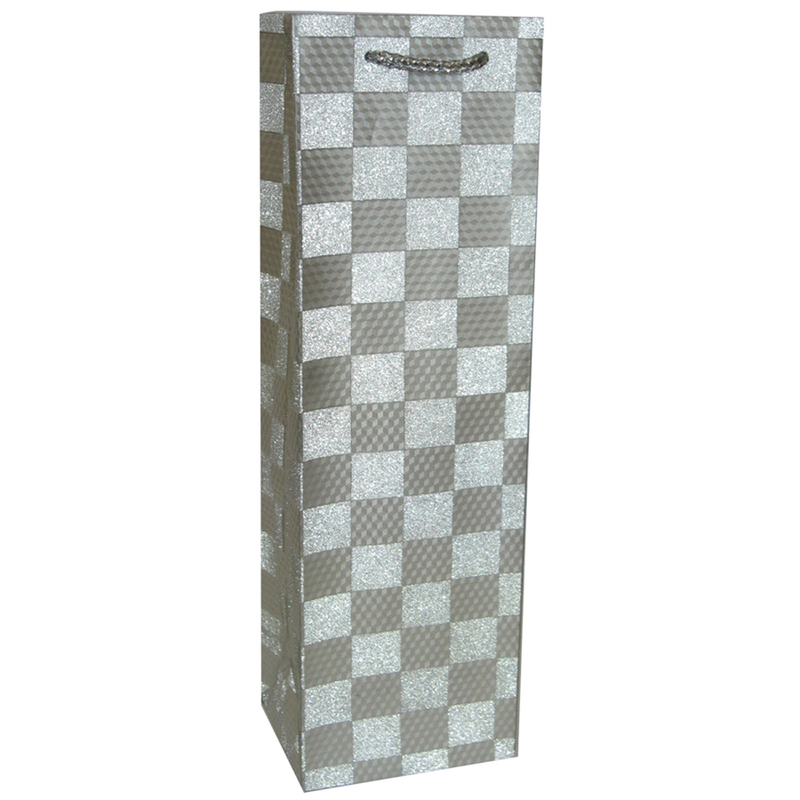 glitter silver checkers wine bottle bag