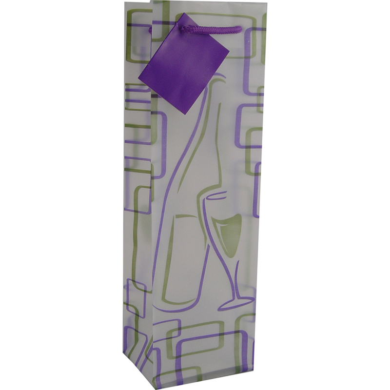frosted retro purple wine bottle bag