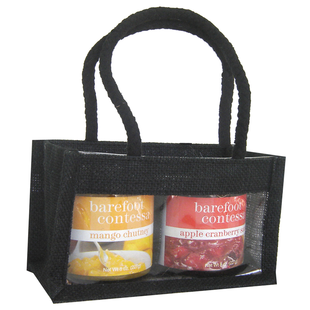 jute black double gourmet food bag