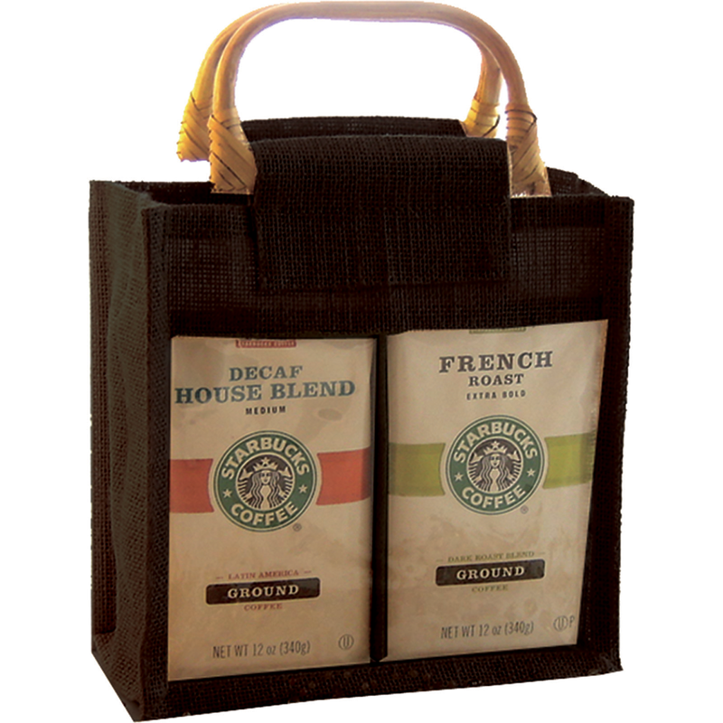 jute bamboo black window double coffee  tea gourmet food bag