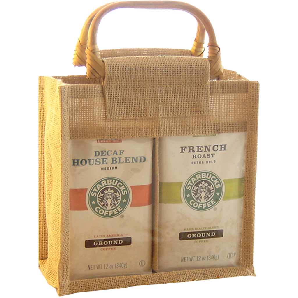 jute bamboo natural window double coffee  tea gourmet food bag