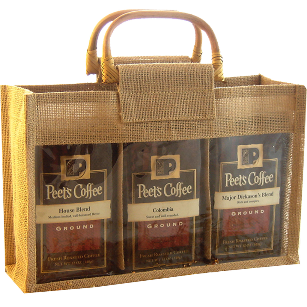 just bamboo natural window tripple coffee  tea gourmet food bag