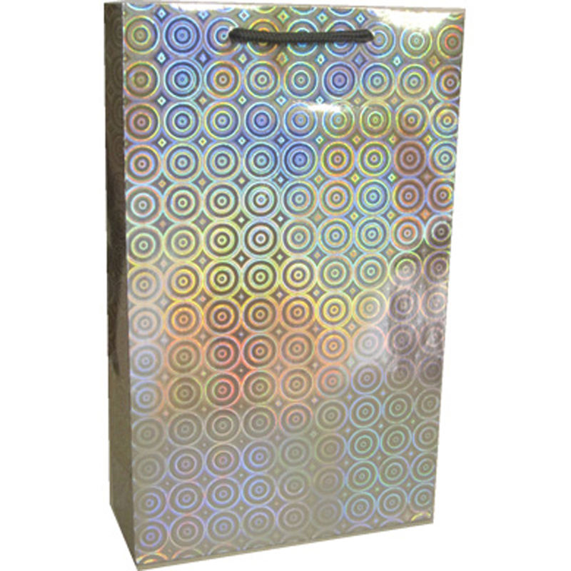 holographic silver disco double bottle wine bag