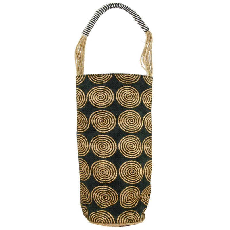 jute  sisal cylinder black swirls wine bottle bag