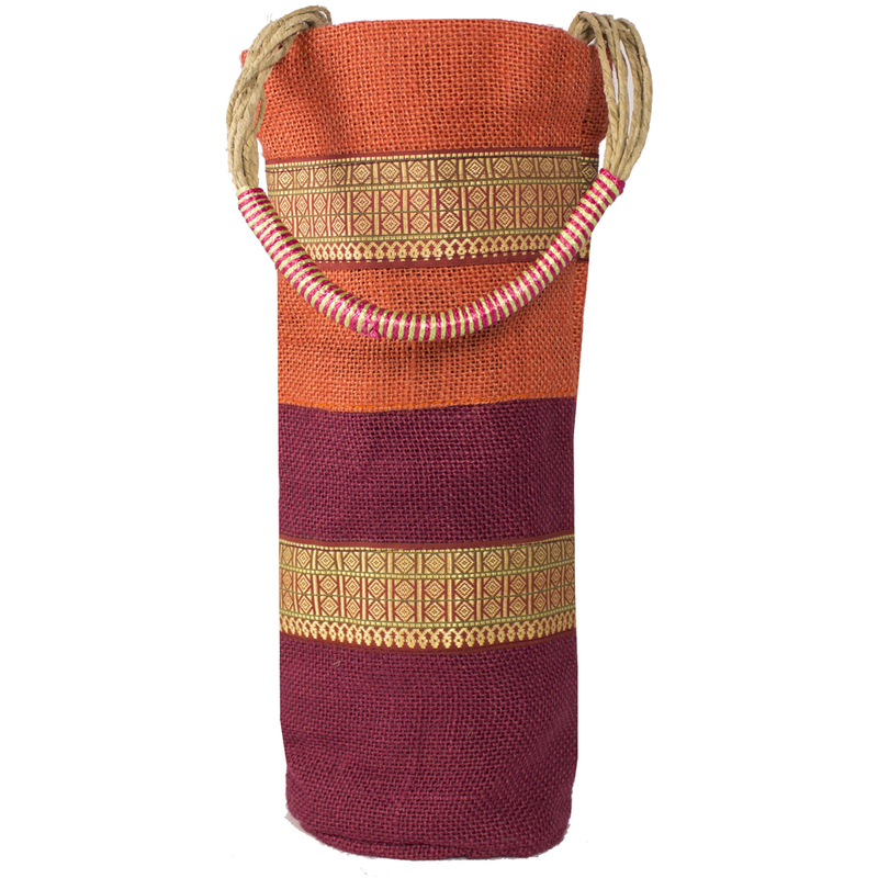 jute  sisal cylinder spring stripes wine bottle bag