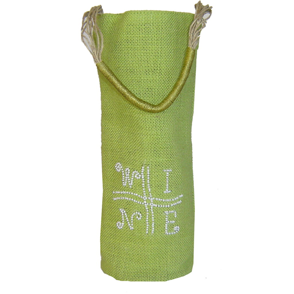 jute  sisal cylinder lime green wine bottle bag