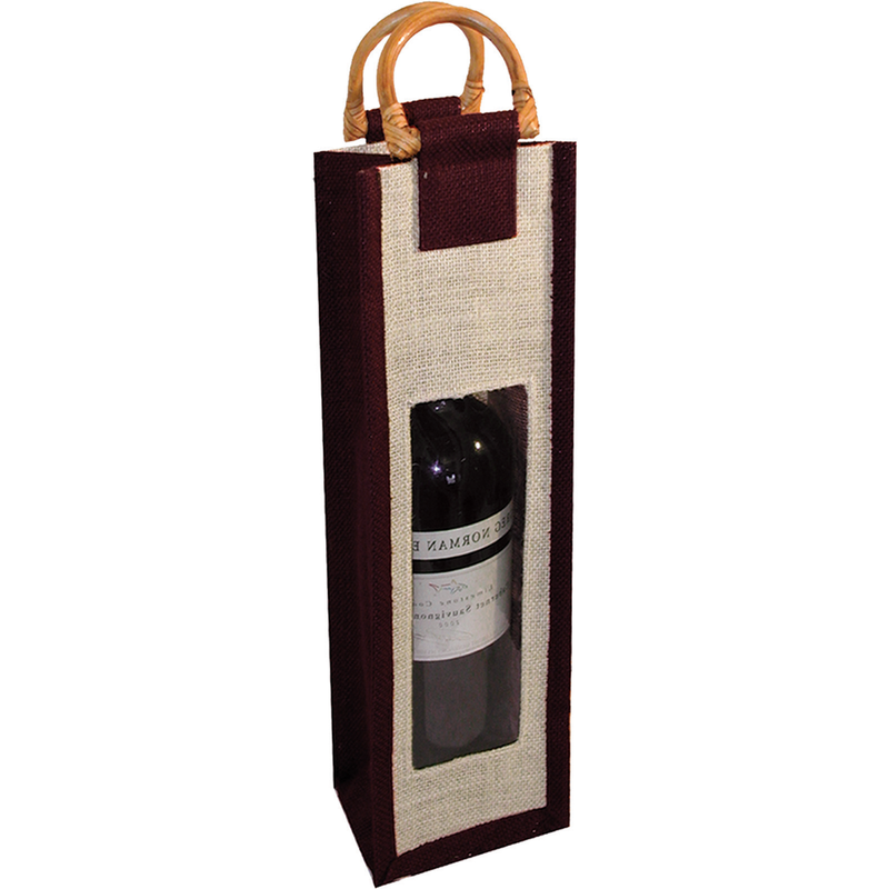 jute bamboo black window wine bottle bag