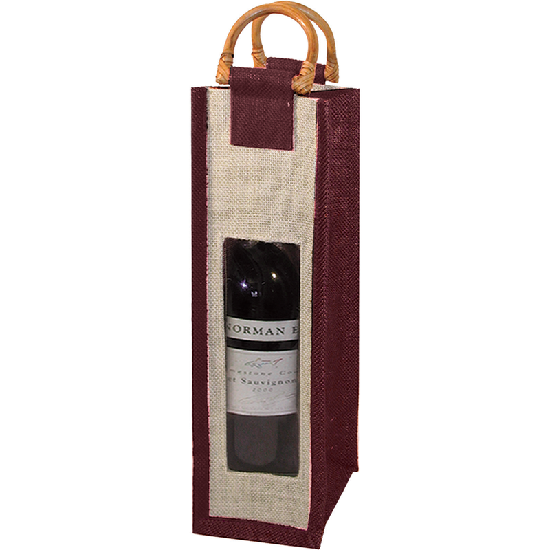 jute bamboo burgundy window wine bottle bag