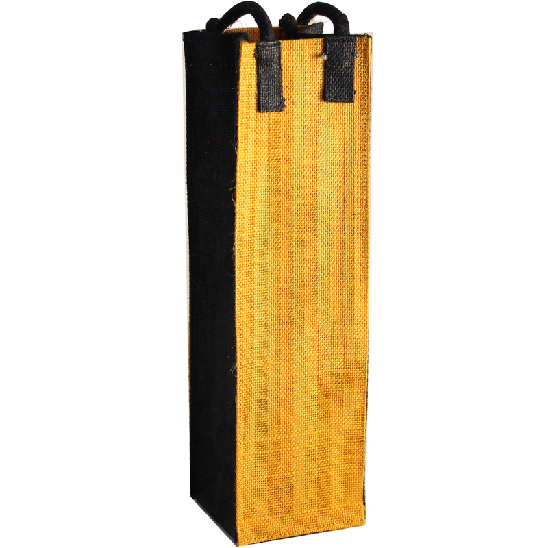 jute bold gold wine bottle bag