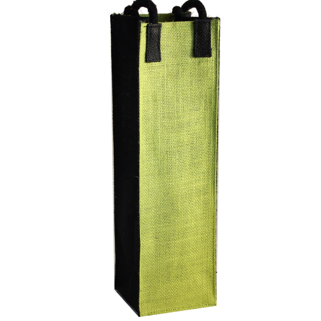 jute bold green wine bottle bag