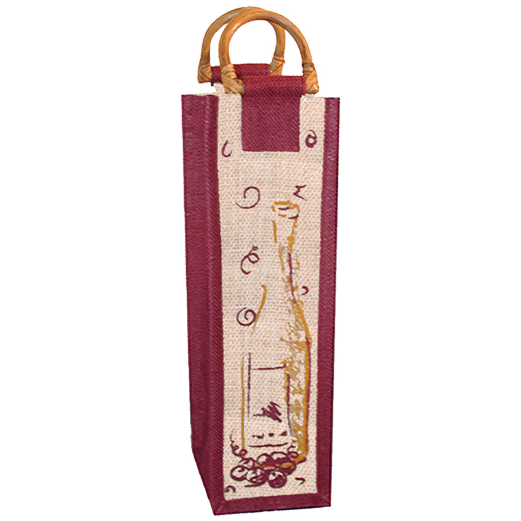 mcane jute bamboo window wine bottle bag