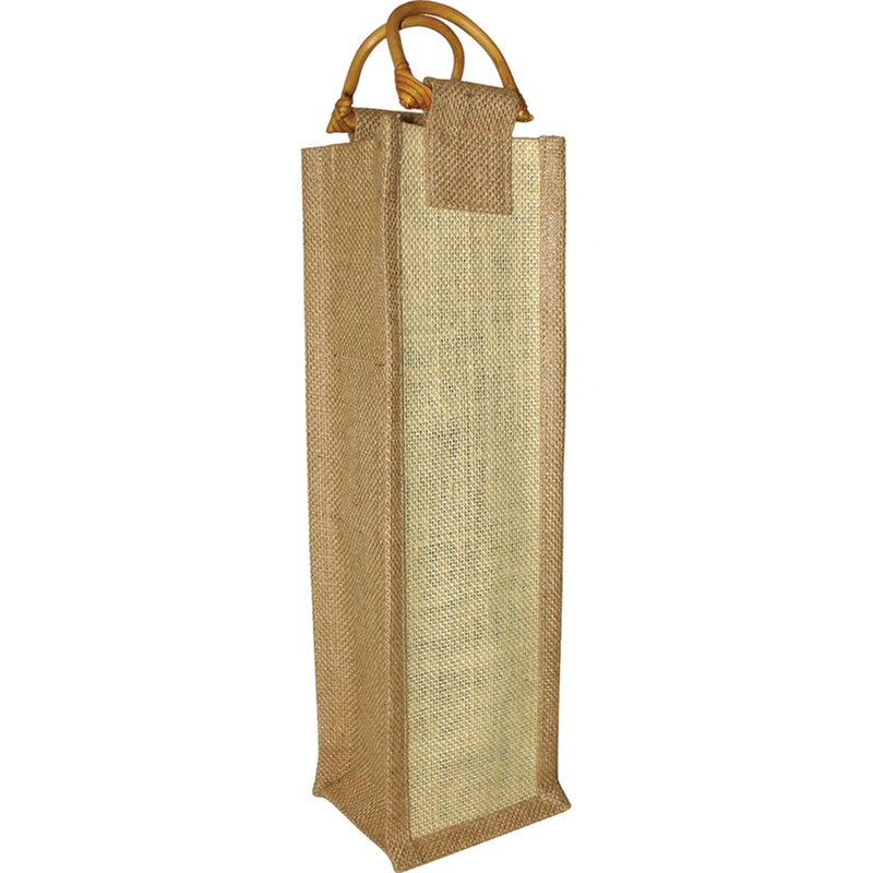 jute bamboo neutral wine bottle bag