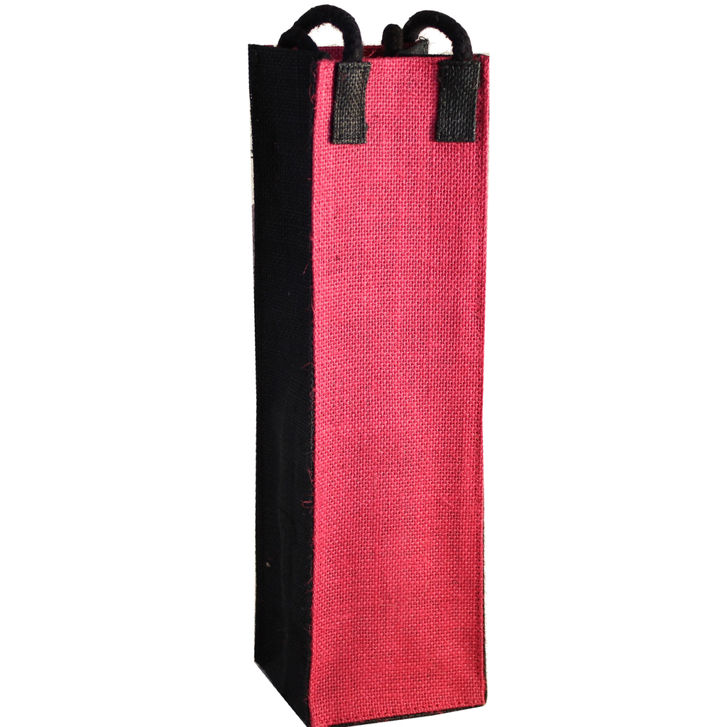 jute bold pink wine bottle bag