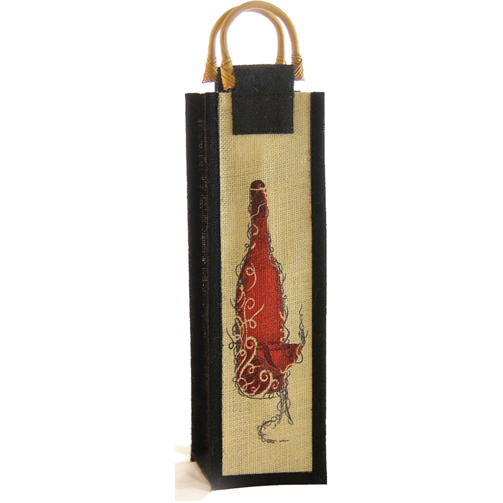 jute bamboo zin wine bottle bag