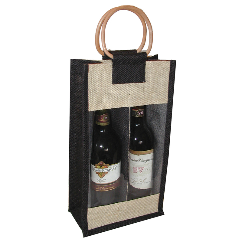 jute bamboo black window double bottle wine bag