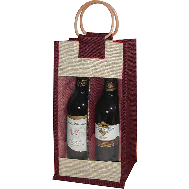 jute bamboo burgundy window double bottle wine bag