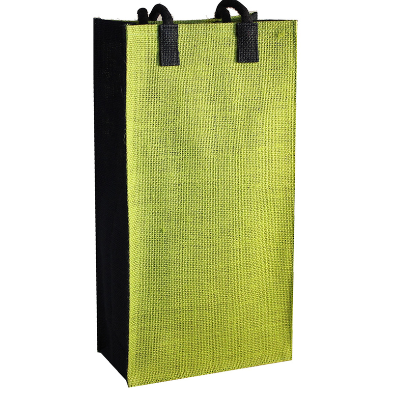 jute bold green double bottle wine bag