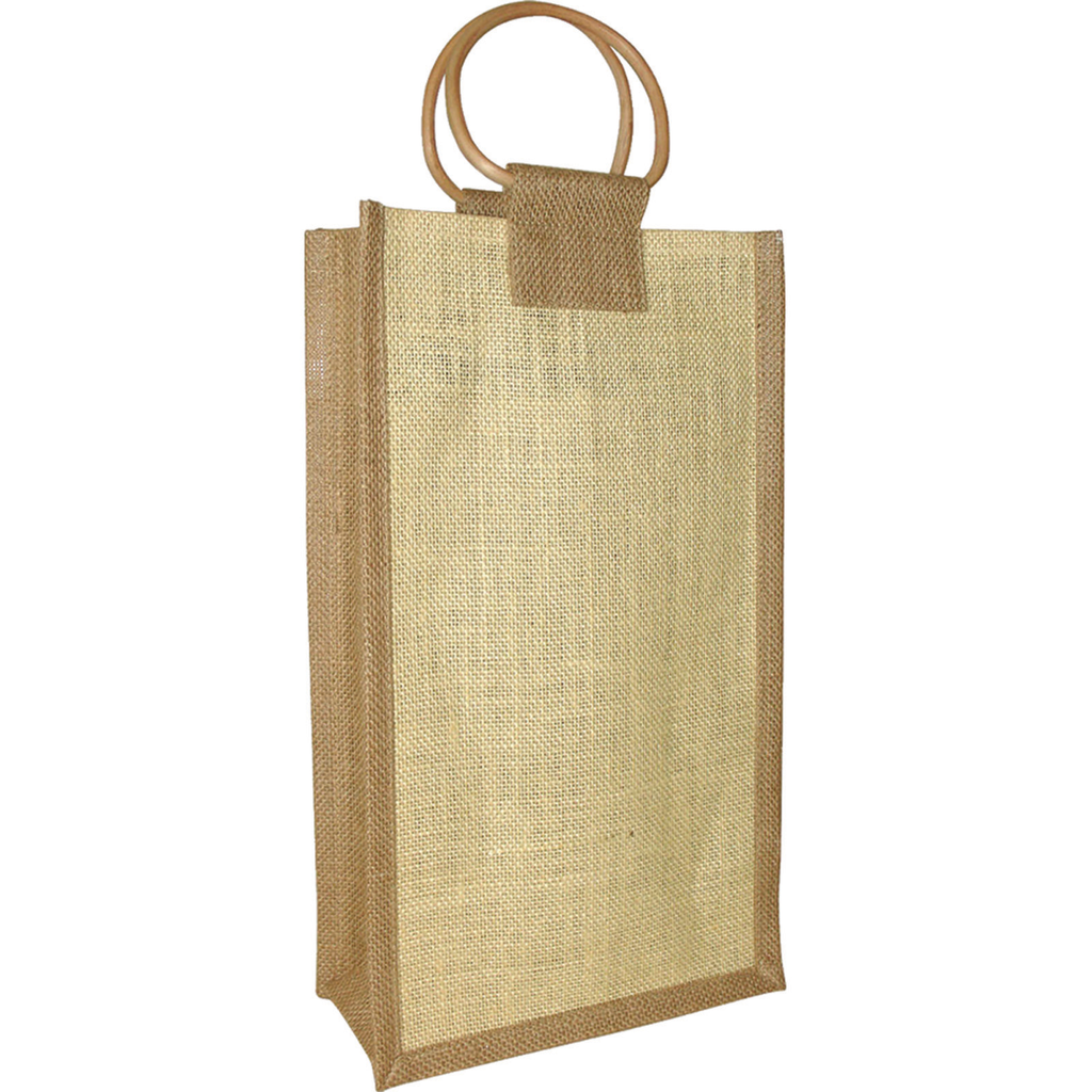 jute bamboo neutral double bottle wine bag