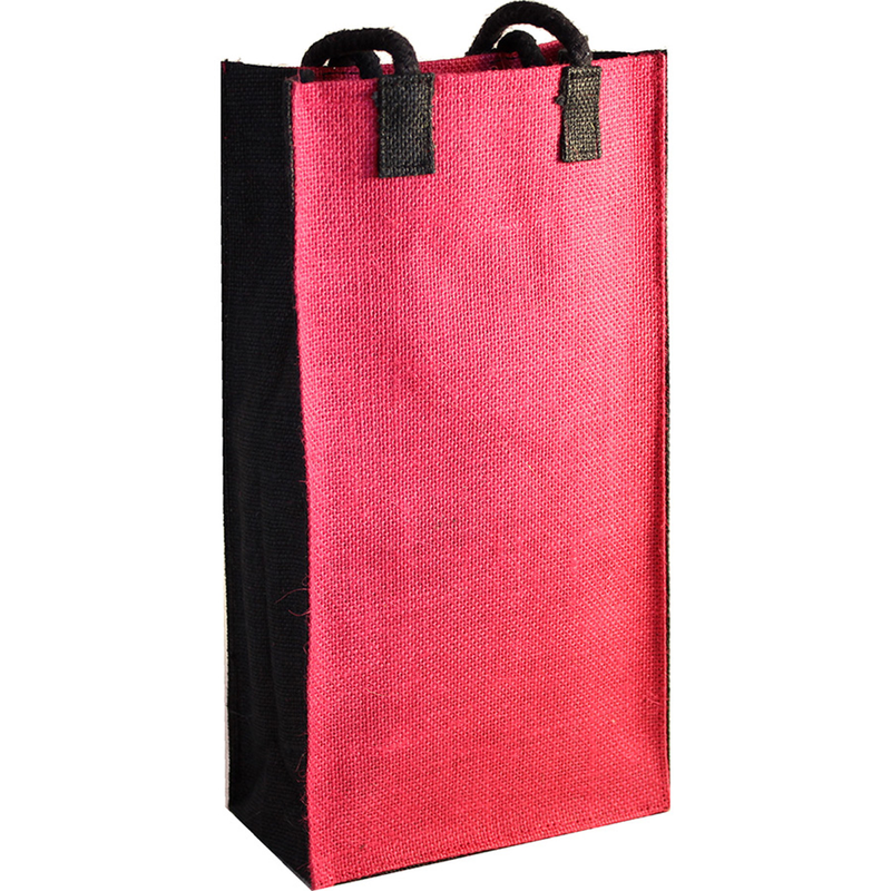 jute bold pink double bottle wine bag