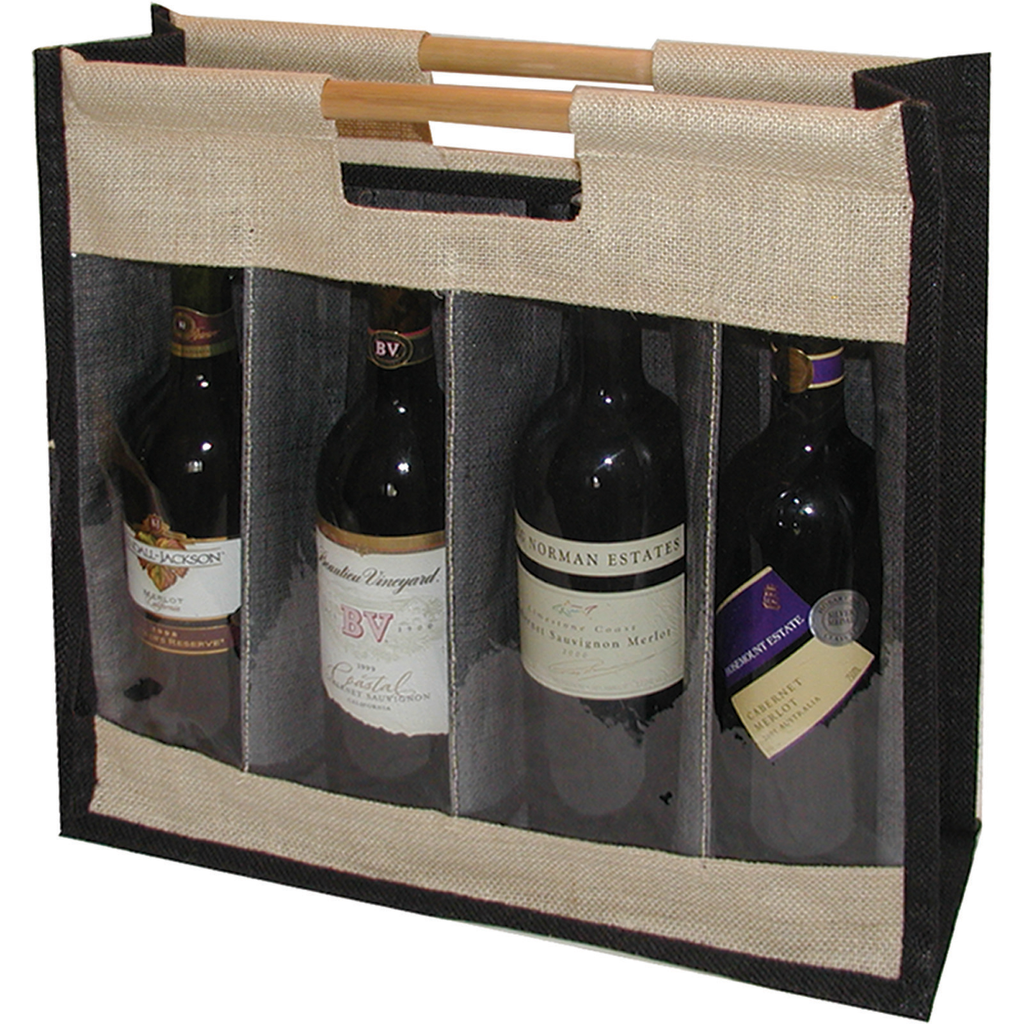 jute bamboo blfour bottle wine bag