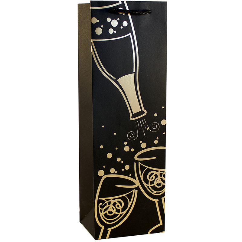 shiny foil champagne bubbles wine bottle bag