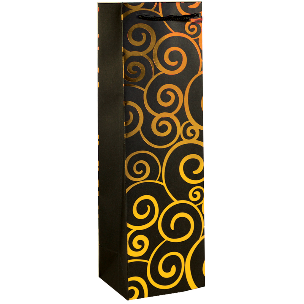 shiny foil gold swirls wine bottle bag