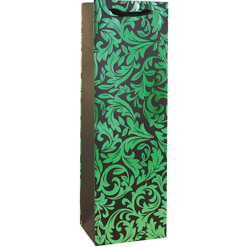 shiny foil green floral wine bottle bag
