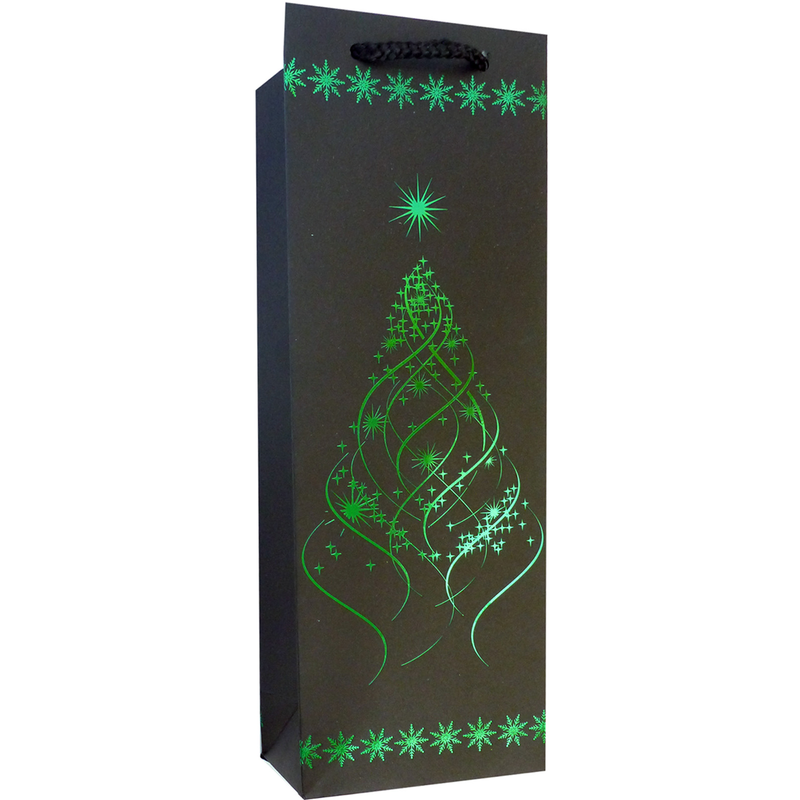 shiny foil jade tree wine bottle bag
