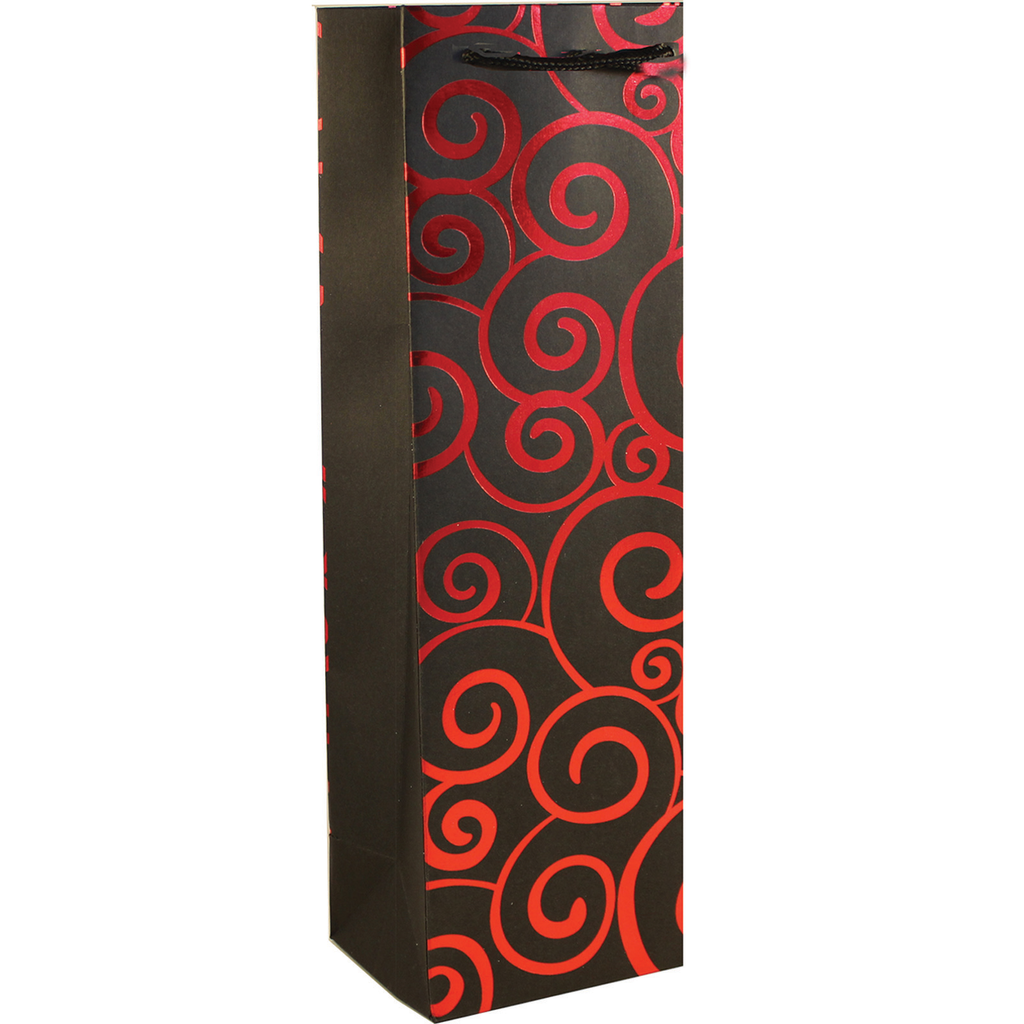 shiny foil red swirls wine bottle bag