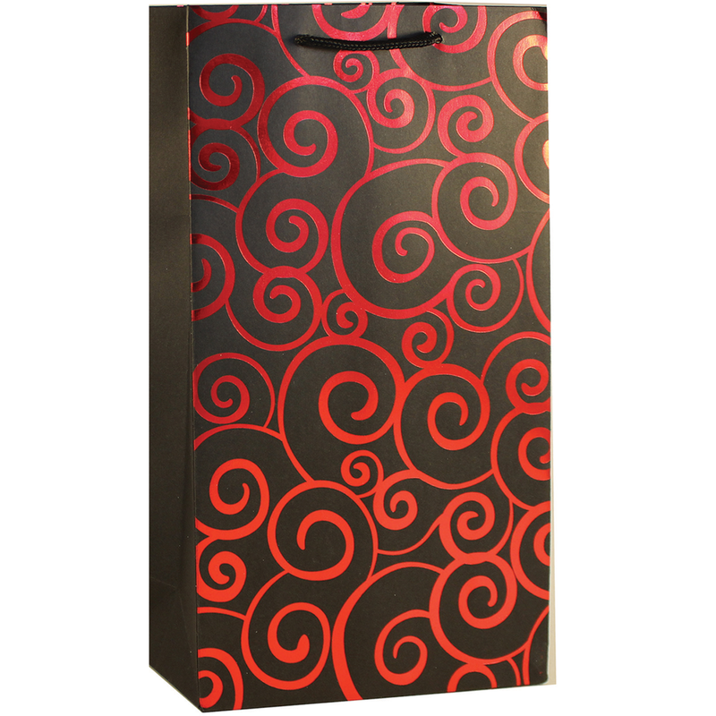 shiny foil red swirls double bottle wine bag